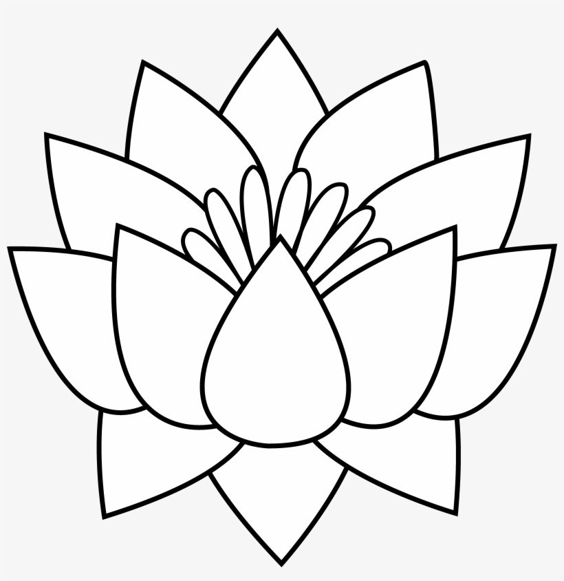 Lotus Flower Line Art Lotus Flowers Clipart Black And White 5953x5764 Png Download Pngkit