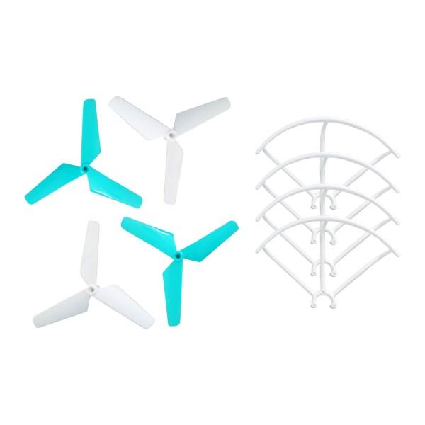 Lot de 4 hélices et 4 protections d'hélices pour drone DR-WING W
