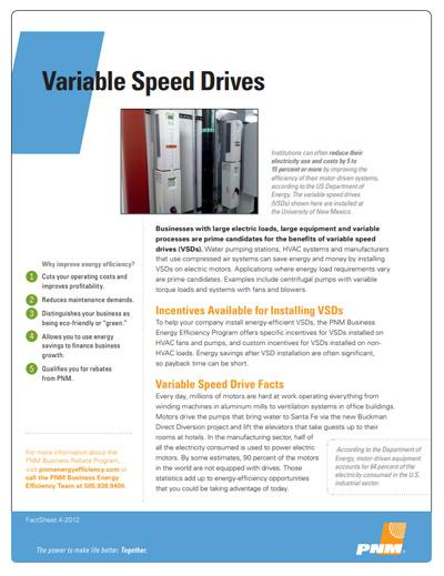 Variable Speed Drives (VSD) Fact Sheet