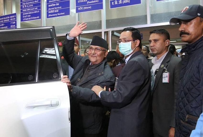 प्रधानमन्त्री ओली अस्पतालबाट 'डिस्चार्ज'
