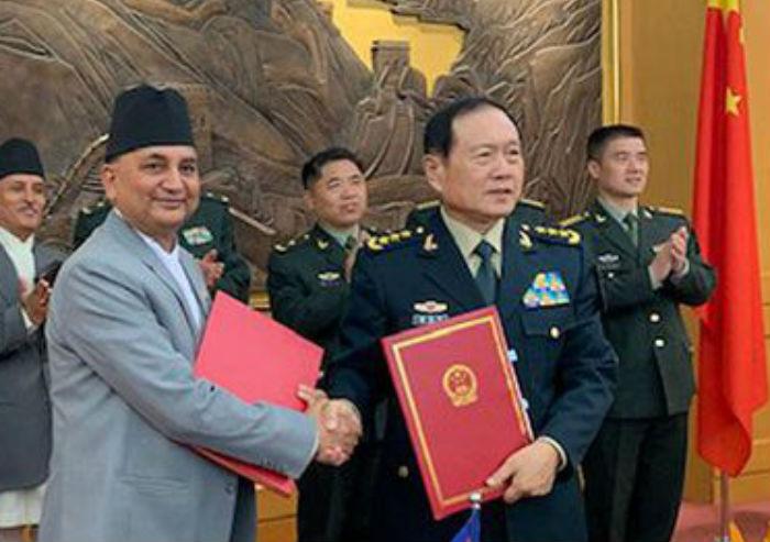 नेपाल र चीनबीच सैन्य सहायतामा सम्झौता