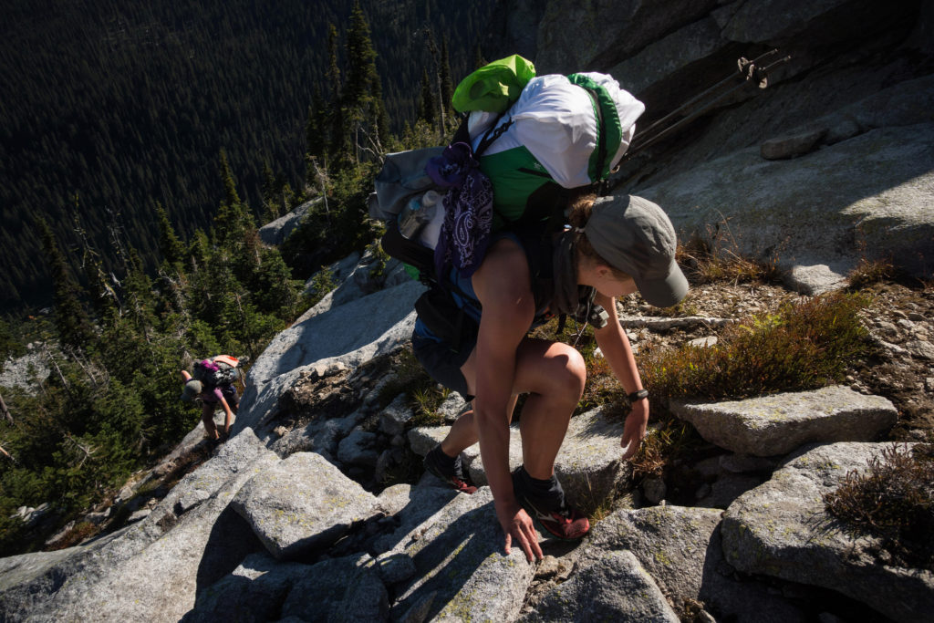 Scrambling is part of the PNT experience. Photo by Julie Hotz. All rights reserved.