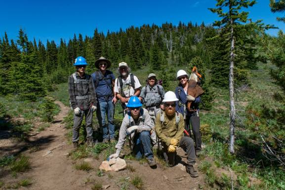 Volunteers at the Kettle Range Rendezvous. Photo by Jeff Johnson, Community Outreach Coordinator at the Lands Council.
