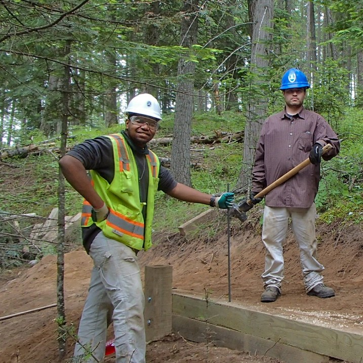 US Job Corps Students helped relocate a retaining wall