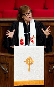 United Methodist Bishop Debra Wallace-Padgett gives the sermon during worship at Gardendale-Mt. Vernon United Methodist Church in Gardendale, Ala. A UMNS photo by Mike DuBose. (January 2013 file photo)