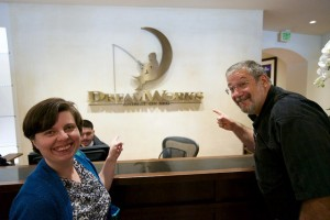 Revs. Ruth Marston and Peter Perry of Olympia First UMC enjoy a moment as tourists while visiting Dreamworks Studio.