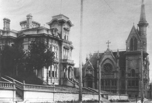 In September, 1889, two months after the great Seattle fire, First Church opened the doors of its new, Gothic Revival-style church at the corner of Third and Marion, erected in the same year Washington achieved statehood. In the foreground is the Seattle Chamber of Commerce.