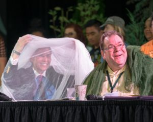 """From left: Bishop Grant Hagiya and the Rev. Jon Short were """"netted"""" to raise funds for INM at the PNW Annual Conference."""