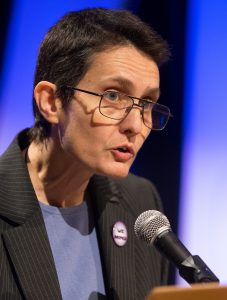 Dorothee Benz takes part in a panel discussion during the 2016 Pre-General Conference Briefing in Portland, Ore. Photo by Mike DuBose, UMNS