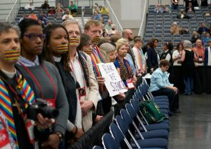 Participants in a silent protest on Saturday morning, May 14th at #UMCGC. Photo by Patrick Scriven for the PNW Conference.