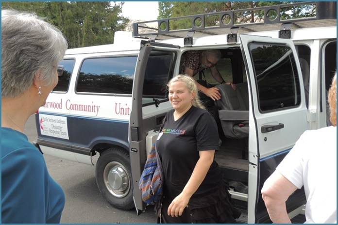 PNW Laity arrive to Pateros, Wash. to experience with their own senses the state of fire-damaged areas in town.