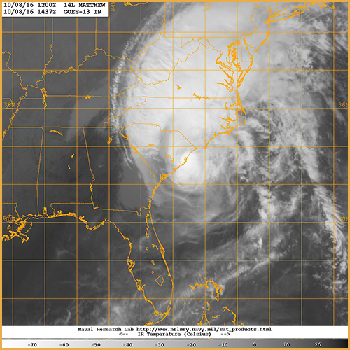 161008-N-N0101-001 ATLANTIC OCEAN (Oct. 8, 2016) Hurricane Matthew makes landfall southeast of McClellanville, S.C. The category 1 hurricane is moving toward the northeast near 12 mph (19 km/h), and this motion is expected to continue today. On the forecast track, the center of Matthew will continue to move near or over the coast of South Carolina today, and be near the coast of southern North Carolina by tonight. Maximum sustained winds are near 75 mph (120 km/h) with higher gusts. Although weakening is forecast during the next 48 hours, Matthew is expected to remain near hurricane strength while the center is near the coasts of South Carolina and North Carolina. (U.S. Navy photo/Released)