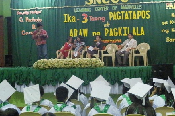 Patrick Gabriel inspiring the graduating students