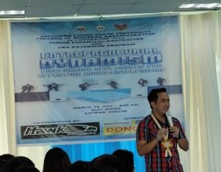 Filipino motivational speaker speaks at the Southern Luzon State University