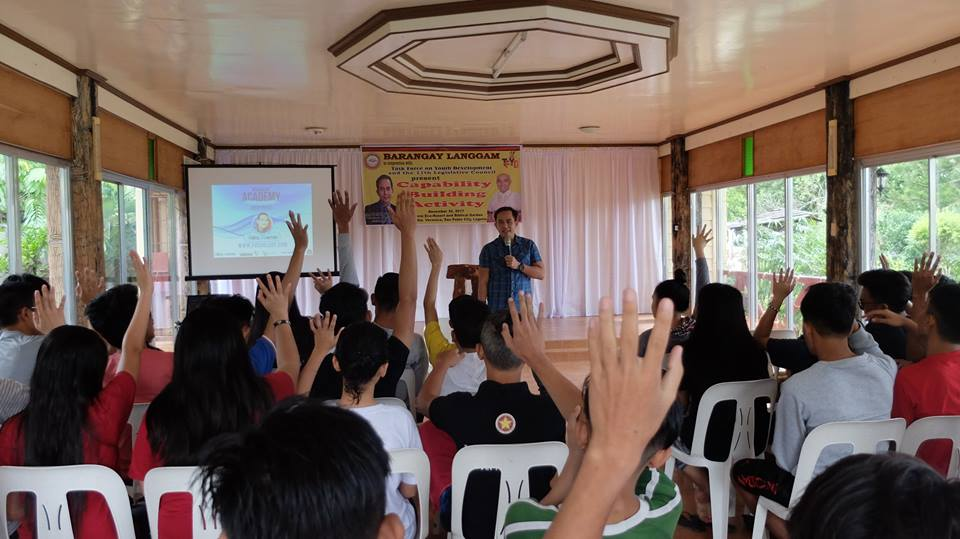 The VoiceMaster speaks at Barangay Langgam Youth Capacity Building Activity