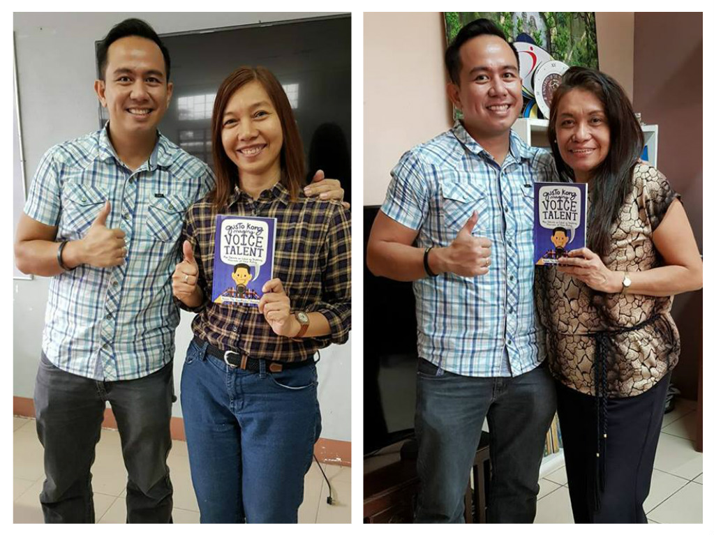 The VoiceMaster gives a copy of his book to his former Professors Fabby Ortiz and DSCTA Chair Belen Calingacion