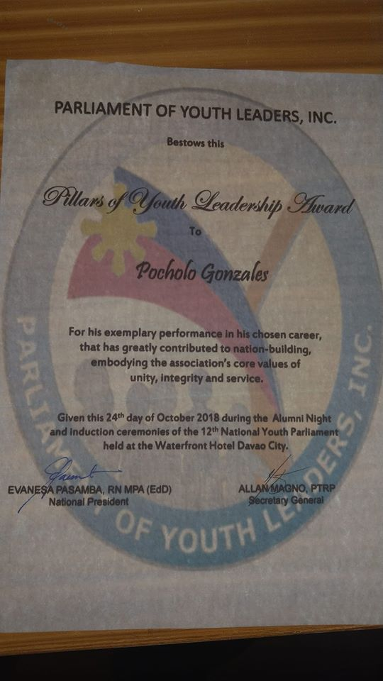 Pillars of Youth Leadership Award 2018 certificate