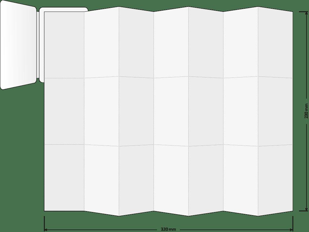 Mini-Folder mit Bemaßung offen