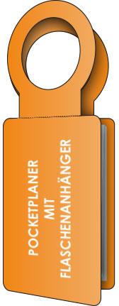 PocketPlaner mit Flaschenanhänger stehend