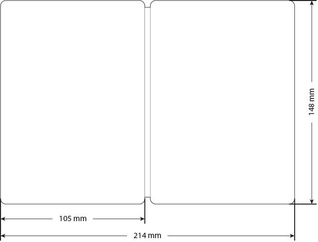 PocketPlaner-XL (DIN A6) Umschlag mit Bemaßung