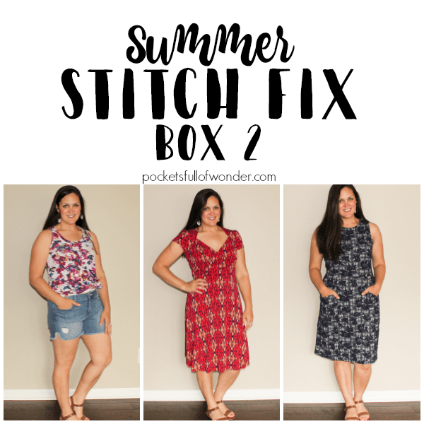 Summer Stitch Fix Review Collage of 3 outfits.