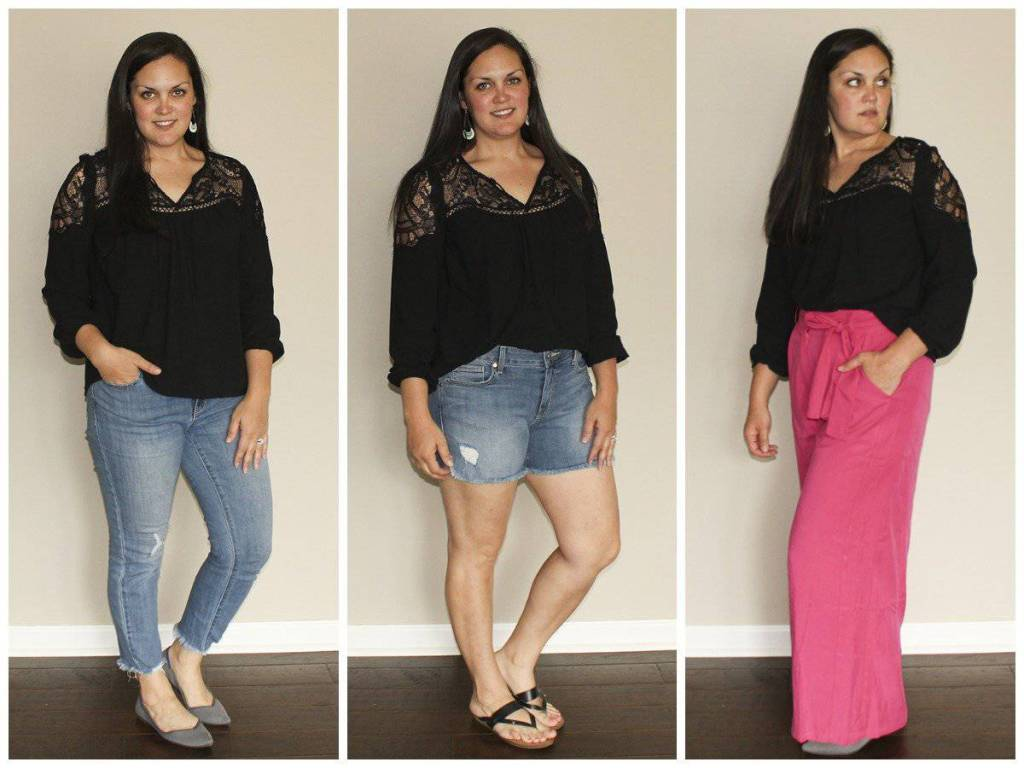 Le Tote, black lace peasant top with jeans, shorts, and pink pants
