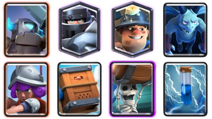 Bir madenci, silahşör, bazı iskeletler ve bir şövalye içeren bir Clash Royale güvertesi