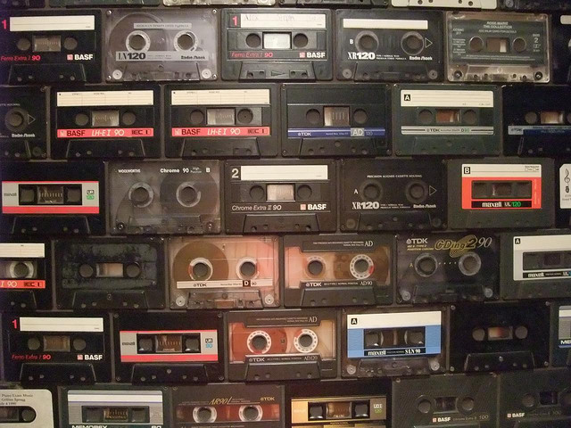 cassette tape wall in a shoreditch bar