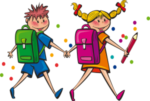two little cartoon kids holding hands wearing backpacks and carrying pencils