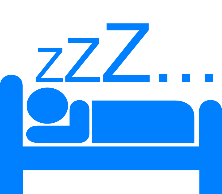 Person sleeping with Zs above them