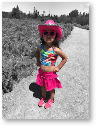 Colorful hiker girl