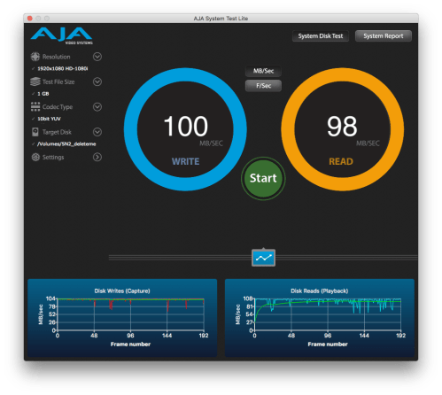 AJA System Test shoiwng 100MB s write