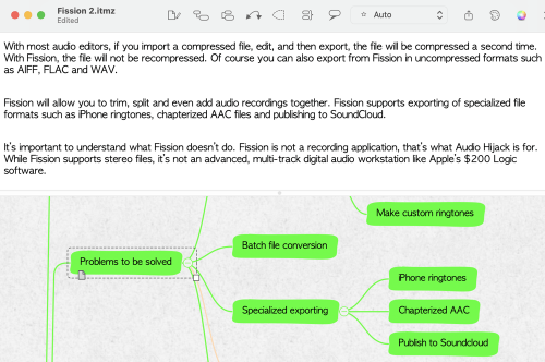 iThoughts Showing Notes Field