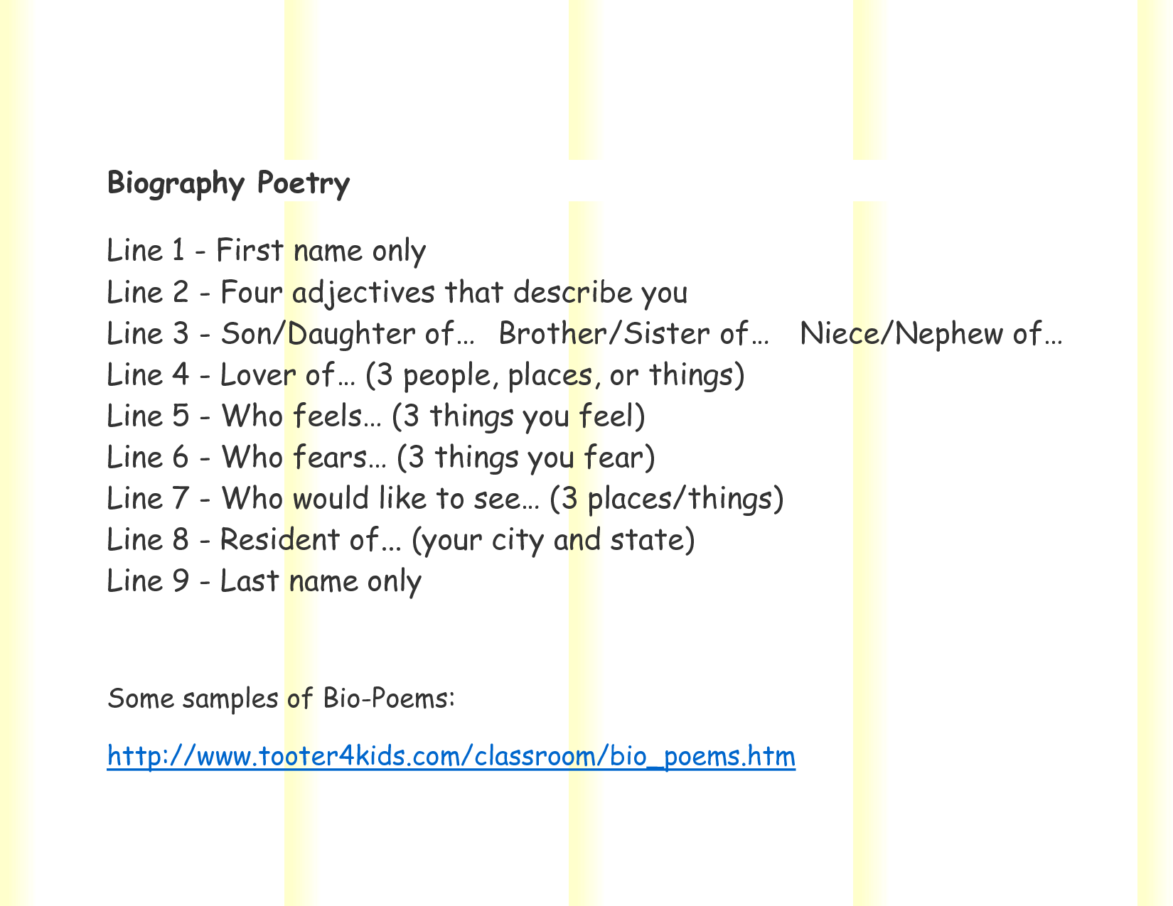 Biographical Poems