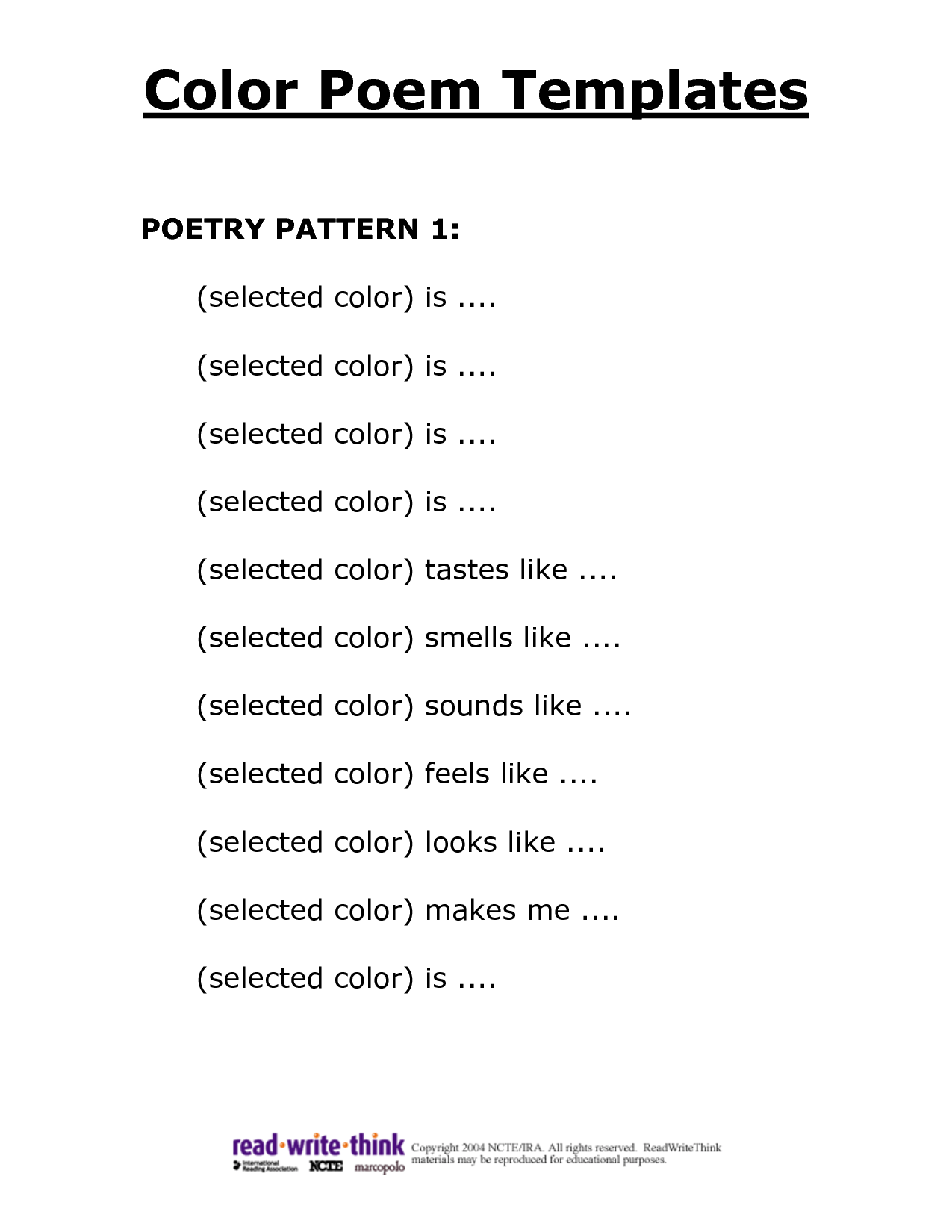 Formats For Poems Poems