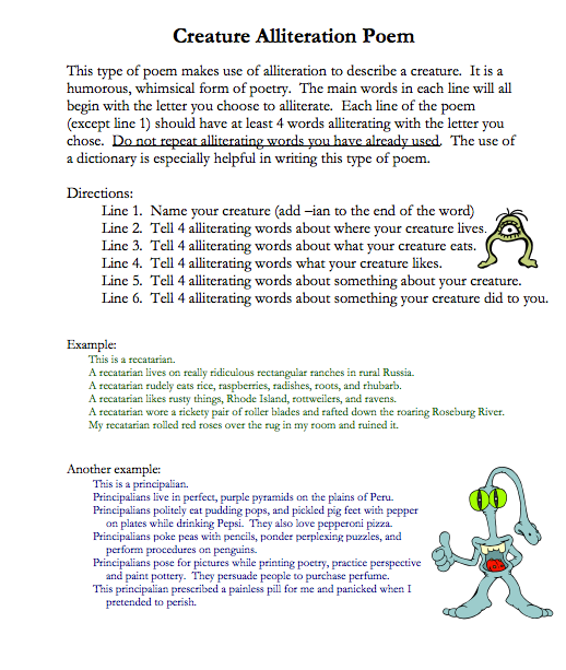Creature Alliteration Poems Examples Poemview
