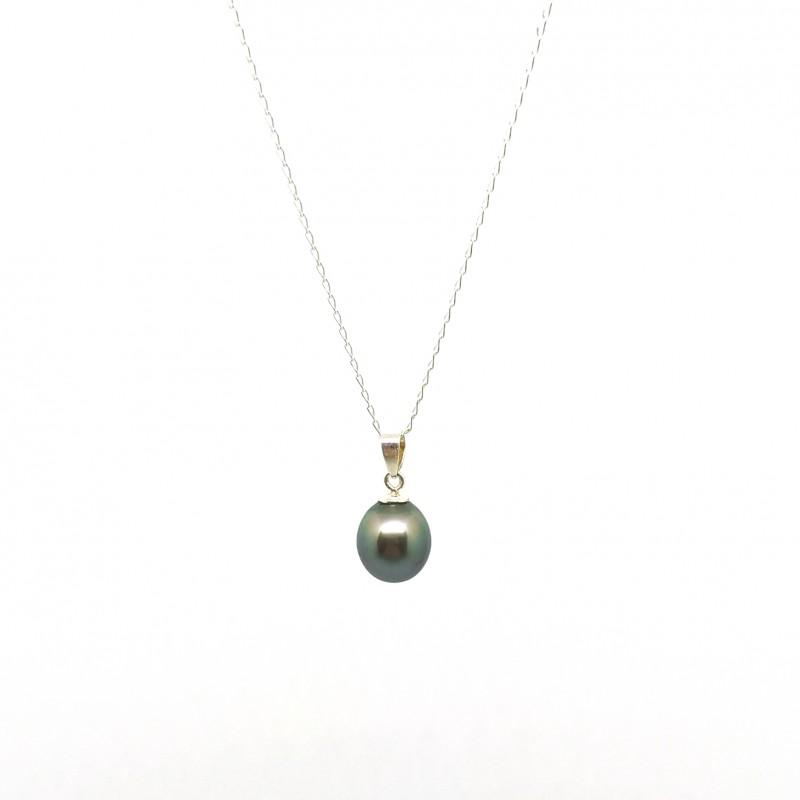 bijou en argent pas cher chaine avec sa perle culture de tahiti