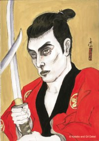 Natalie Dekel - Drawing past-lives - Gil as a Japanese warrior, circa 1890 (painted in 2004)