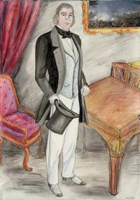 Natalie Dekel - Drawing past-lives - Tom as an Englishman, 19th century (painted in 2008)