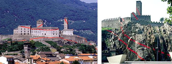 Castellgrande (2001), Bellizona, Switzerland, screen print (seen outside the vantage point).