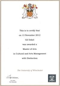 Gil Dekel - MA, Cultural & Arts Management, Uni of Winchester