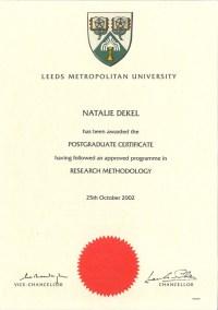 Natalie Dekel - Research Methods, Leeds Beckett University
