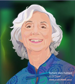 Portrait of Barbara Marx Hubbard, founder of 'Foundation for Conscious Evolution' and initiator of 'The Synergy Engine', 'The Wheel of Co-Creation' and 'The Peace Room'.