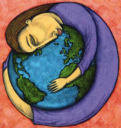 MB Hopkins - Woman Hugging World, The Global Art Project for Peace 2000.