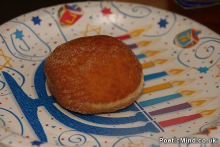Photo of Sufganiya (Sufganiyah, Sufganiyot) for Hanuka (Hanukkah).