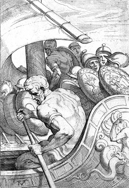 Odysseus and armour-clad men on their ships