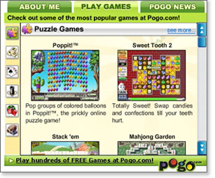 Pogo Gaming Widget for Facebook