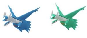 Latios nella sua versione normale (a sinistra) e shiny (a destra)