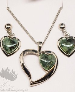 New Zealand Made Greenstone Earrings and Pendant Set