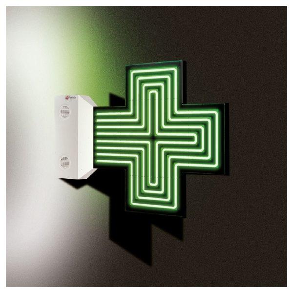 Croix de pharmacie Fine star en néon de couleur verte